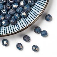 Arricraft Czech Fire Polished Glass Beads, Faceted, Drum, Cornflower Blue, 6x6mm, Hole: 1mm, about 37pcs/10g