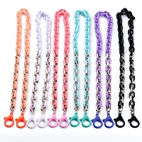 Personalized Acrylic & CCB Plastic Cable Chain Necklaces, Eyeglasses Chains, Handbag Chains, with Plastic Lobster Claw Clasps, Mixed Color, 26.97 inches(68.5cm)