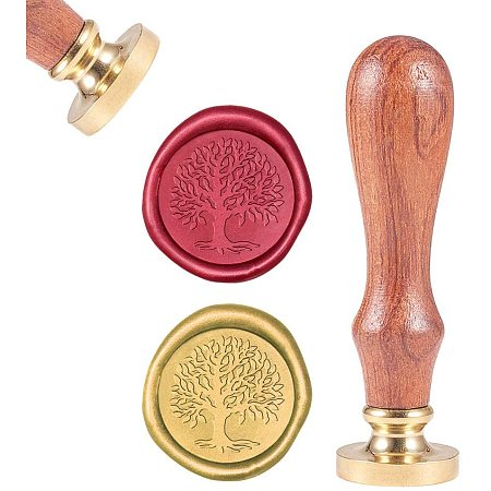 CRASPIRE Wax Seal Stamp, Sealing Wax Stamps Life Tree Retro Wood Stamp Wax Seal 25mm Removable Brass Seal Wood Handle for Envelopes Invitations Wedding Embellishment Bottle Decoration