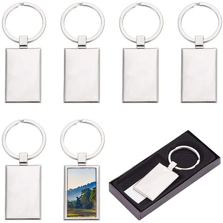 Pandahall Elite 10pcs Sublimation Blanks Keychains Rectangle Sublimation Transfer Blanks with Metal Round Key Rings for Heat Press