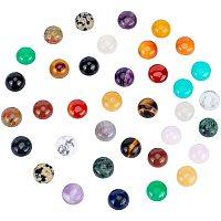PH PandaHall 36pcs Natural & Synthetic Mixed Stone Cabochons, Half Round/Dome, 12x5mm