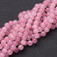 NBEADS 10 Strands 6mm Natural Rose Quartz Gemstone Beads Round Loose Beads for Bracelet Necklace Jewelry Making, 1 Strand 65pcs