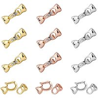 NBEADS 6 Sets of Brass Cubic Zirconia Fold Over Clasp, 3 Colors Brass Clasp Extension with Cubic Zirconia for Bracelets Necklaces Jewelry Making Crafts