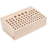 BENECREAT 76 Holes Leather Craft Tool Holder 7.8x4.5x2.6 Wooden Leather Stamp Holder Organizer Punch Tool Stand Rack for for Punches Tools and Leather Craft Working