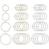 PandaHall 80pcs 4 Sizes Brass Round Hoop Earrings Wire Hoops Wine Glass Charm Rings Beading Hoop for DIY Craft Making Party Favors, Golden & Stainless Steel Color