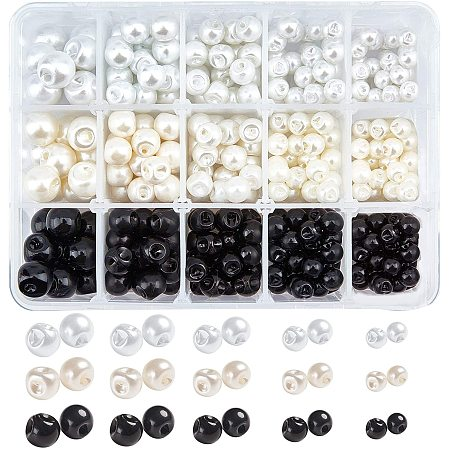 NBEADS 330Pcs Ball Buttons, Imitation Pearl Button 1-Hole Sewing Buttons for Crafts, Clothes, Suits Coats, Wedding Dress and DIY Project