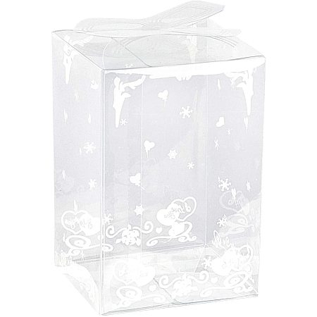 BENECREAT 28PCS 2x1.7x3 Inch Clear Wedding Favour Boxes with Floral Pattern Rectangle PVC Transparent Gift Boxes for Candy Chocolate Valentine Gift Wrapping
