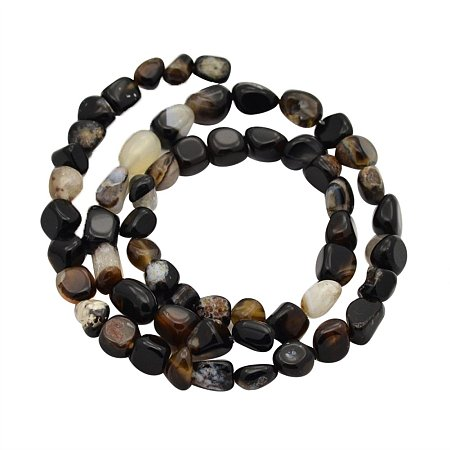 NBEADS Black 1 Strand 5-7mm Dyed Heated Nugget Natural Agate Loose Bead Strands for Women Jewelry Making, Beads Bulk for Women Accessories Making, 15.7 Inch