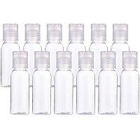 BENECREAT 24 Pack 1oz PET Plastic Bottles Clear Refillable Bottles with Press Disc Flip Cap for Shampoo, Lotions, Creams
