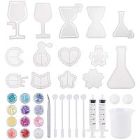 PandaHall Elite UV Resin Molds Kit, 10pcs Epoxy Resin Mold with Moon, Heart, Star, Hourglass, Cat, Wine Glass, Perfume Bottle, Silicone Measuring Cups, Dispensing Syringe, Sequins, Tweezers, Stirring Rod