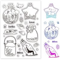 GLOBLELAND Ocean Theme Wishing Bottle Clear Stamps Jellyfish Whale Seaweed Stamps Silicone Stamp Transparent Stamp for Card Making Decoration and DIY Scrapbooking