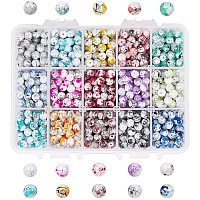 Arricraft 945pcs 15 Color Glass Beads for Jewelry Making, 6mm Drawbench Baking Painted Glass Beads for Necklace Bracelets Making