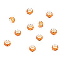 NBEADS 100Pcs 14mm Crystal Glass Charms, Faceted Lampwork Beads Large Hole European Charms Beads fit Bracelet Jewelry Making, Indian Red