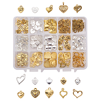 PandaHall Elite 150 Pcs Tibetan Style Alloy Heart Charm Pendants 15 Styles for Jewelry Making 2 Colors