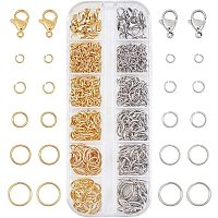 PandaHall Elite 690pcs 304 Stainless Steel Open Jump Rings for Jewelry Making Connectors Jewelry Finding Golden & Stainless Steel Color, 4mm 6mm 8mm 10mm 12mm