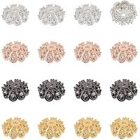 NBEADS 16 Pcs Cubic Zirconia Flower Bead Caps, 4 Colors Metal Beads Caps Brass Spacer Beads for Bracelet Necklace Jewelry Making