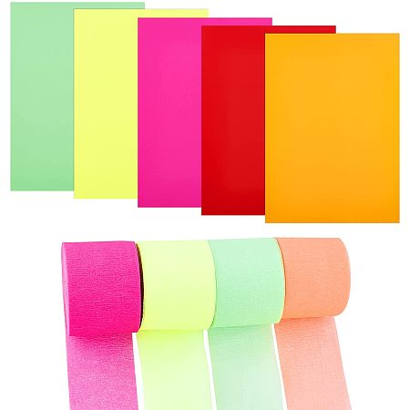 Colored A4 Copy Paper, Self-Adhesive Fluorescence Printing Paper, for DIY Art Craft, with Crepe Paper Streamer Rolls, Mixed Color, 20x21x0.01cm, 5 colors, 6sheets/color, 30sheets/set