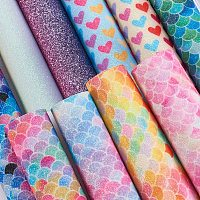 """BENECREAT 10 Pack A4 Size Mermaid Printed Faux Leather 8"""" x 12"""" Glitter Leather Sheets for Jewelry Handmade DIY Craft Project"""