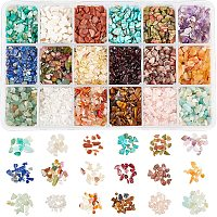 NBEADS 1 Box Gemstone Chips Beads, 18 Styles Undrilled Natural Irregular Shaped Nugget Loose Beads Energy Stone for Jewelry Making, 2-8mm