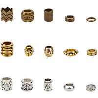 NBEADS 150 Pcs Tibetan Style Alloy Dreadlock Beads, 15 Kinds of Loose Braiding Hair Beads DIY Jewelry Accessory for African DIY Hair Braiding Ponytail Decoration, Silver/Golden/Bronze