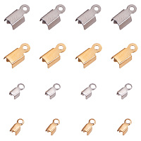 PandaHall Elite About 80 Pcs 304 Stainless Steel Fold Over Cord Ends Terminators Crimp End Tips for Leather 3mm and 4mm for Jewelry Making 2 Colors