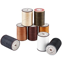 PANDAHALL ELITE Flat Waxed Thread String, for Leather Sewing Stitching, Mixed Color, 0.8mm, about 100m/roll; 8 colors, 1roll/color, 8rolls/set.