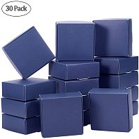 BENECREAT 30 Packs MarineBlue Square Kraft Paper Soap boxes 3x3x1.2 Paper Gift Packing Boxes for Wedding Birthday Party Treats and Favors