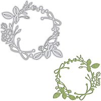 GLOBLELAND Metal Wreath Cutting Dies Flowers Die Cuts for DIY Making Paper Card Craft Decoration Supplies, Matte Platinum