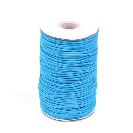NBEADS A Roll of 70m Round Elastic Cord Beading Crafting Stretch String, with Fiber Outside and Rubber Inside, Deep Sky Blue, 2mm