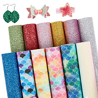 SUNNYCLUE A5 Glitter PU Leather Fabric, for Craft Cloth DIY Material, Mixed Color, 20.5x15.3x0.05cm; 12sheets/set
