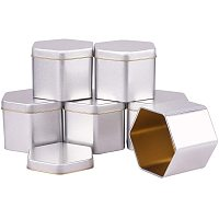 BENECREAT 6 Packs 3x2 Hexagon Tin Plated Cans Metal Tin Containers with Lids for Loose Leaf Tea, Coffee Beans, Sugar, Spices and More