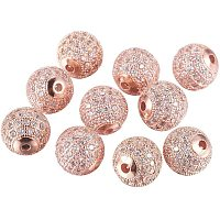 Brass Micro Pave Cubic Zirconia Beads, Round, Clear, Rose Gold, 10mm, Hole: 2mm; 10pcs/box