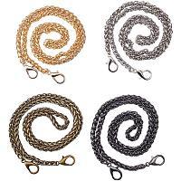 PandaHall Elite 4 Strands 4 Colors 24 Inch Iron Flat Chain Strap Handbag Chains Accessories Purse Straps Shoulder Cross Replacement Straps with Swivel Buckles, Platinum/Antique Bronze/Gunmetal/Light Gold