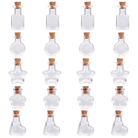 SUNNYCLUE Mixed Shapes Glass Bottle for Bead Containers, with Cork Stopper, Wishing Bottle, Clear, 20pcs/set