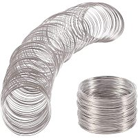 BENECREAT 500 Loop Platinum Jewelry Memory Beading Wire Bangle Bracelet Wire for Bracelet DIY Jewelry Making - 22 Gauge, 60mm