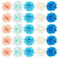 Lace Costume Accessories, Flower, Mixed Color, 50mm, 5pcs/set