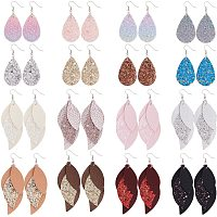 PandaHall Elite 3 Layered Leather Earrings, 16 Pairs Lightweight PU Leather Leaf Earring Charms Layered Design Drop Earrings Glitter Dangle Earrings for Women Fashion