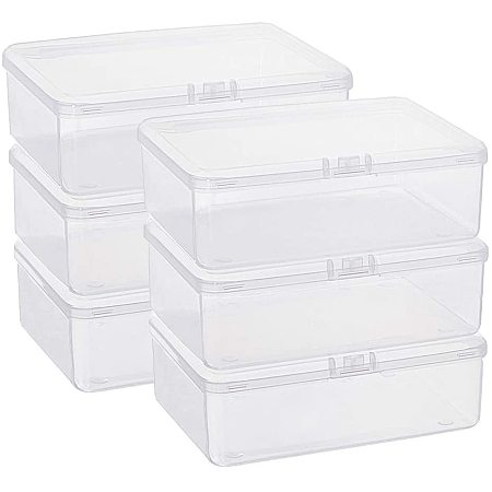 BENECREAT 6 Pack 5.6x4.2x1.8 Clear Plastic Box Containers with Lids for Beads, Coins, Safety Pins and Other Craft Jewelry Watch Findings