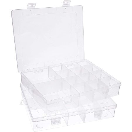 PandaHall Elite 2 pcs 14 Grids Jewelry Dividers Box Organizer Rectangle Clear Plastic Bead Case Storage Container with Adjustable Dividers for Beads Jewelry Nail Art Small Items Craft Findings