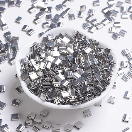 MIYUKI TILA Beads, Japanese Seed Beads, 2-Hole, (TL194) Palladium Plated, 5x5x1.9mm, Hole: 0.8mm; about 118pcs/10g
