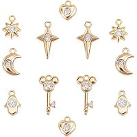 SUNNYCLUE Brass Micro Pave Cubic Zirconia Charms, Nickel Free, Real 18K Gold Plated, Moon & Star & Key & Heart & Hamsa Hand, Clear, Pendants: 12pcs/box