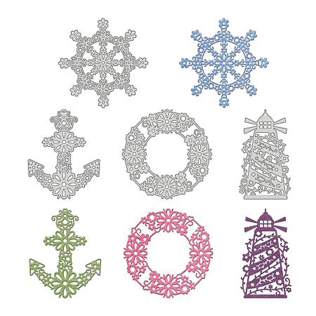 GLOBLELAND Ocean Series Carbon Steel Cutting Dies Stencils, for DIY Scrapbooking/Photo Album, Decorative Embossing DIY Paper Card, Matte Platinum Color, 100x100mm, 4pcs/set