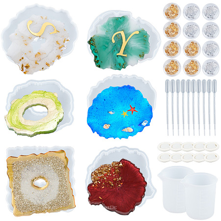 SUNNYCLUE Silicone Cup Mat Molds, Resin Casting Molds, For UV Resin, Epoxy Resin Jewelry Making, with UV Gel Nail Art Tinfoil, Disposable Latex Finger Cots, Nuggets, Clear, 105x129x12mm