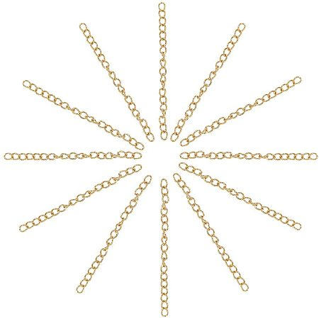 Arricraft 50 pcs 1.8 Inch 304 Stainless Steel Necklace Bracelet Extender Chain for Earring DIY Jewelry Making, Golden