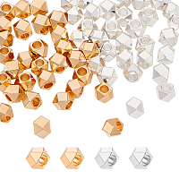 Brass Beads Spacers, Faceted, Square, Mixed Color, 5x5x5mm, Hole: 2.5mm, 2 colors, 30pcs/color, 60pcs