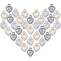 PANDAHALL ELITE Heart Alloy Charms, with Cubic Zirconia, Mixed Color, 12x8.5x5mm, Hole: 1mm, 120pcs/box
