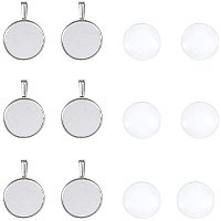 25mm Transparent Clear Domed Glass Cabochon Cover for Photo Pendant Making, with Antique Silver Alloy Settings, Lead Free & Nickel Free, Pendant: 40x26.5x6.5mm, Hole: 9.5x5mm