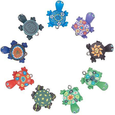 Handmade Polymer Clay Pendants, Tortoise, Mixed Color, 19x26mm, 50pcs/set