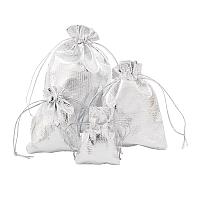 Arricraft Organza Bags, Rectangle, Silver, 7~12x5~9cm; 60pcs/set