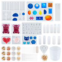 Olycraft DIY Pendant Making, with Silicone Molds, Tinfoil, Iron Screw Eye Pins, Plastic Measuring Cup & Stirring Rod & Pipettes, Latex Finger Cots, Mixed Color, 147~153x114~123x8~8.5mm